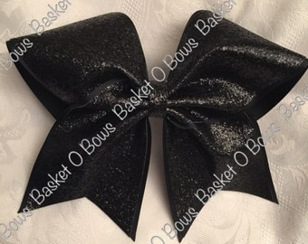 Large BLACK Glitter Bow ~ Softball/Volleyball/Cheer/Soccer/Bowling/Gymnastics/Dance/Team/Game/Practice - MTO