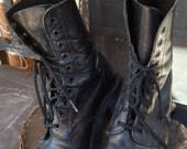 Black Leather Lace Up Dr. Martens Rugged Boots Broken In Woman's Motorcycle Boots SZ. 5