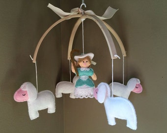 baby mobile, baby crib mobile, Goodnight sheep,  Little Bo Peep, Nursery Rhyme Mobile, sheep baby mobile, cot mobile lamb, vintage baby