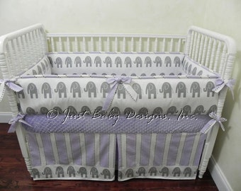Custom Girl Baby Bedding Set Rory - Elephant Baby Bedding, Girl Crib Bedding, Gray and Lavender Baby Bedding
