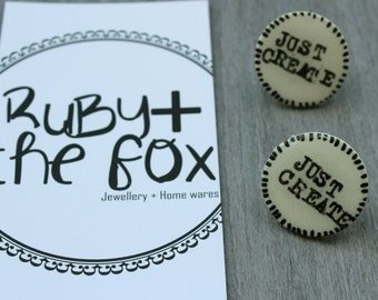 """Quote earrings - """"Just Create"""" - unique - glossy hand stamped studs - art earrings - sentiment jewellery - jewelry"""