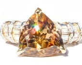 RARE Yellow Zircon & Diamond 18K Ring
