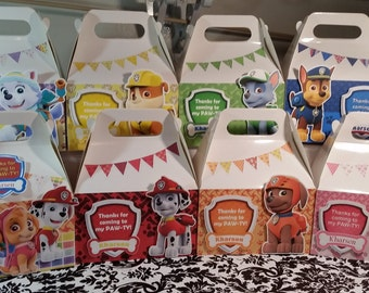 Paw Patrol favor box, Paw Patrol gable box, 10 Paw Patrol party favor gable box, Paw Patrol box