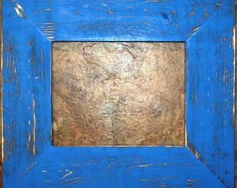 "F002 3-1/2"" OKC Blue Distressed Picture Frame"