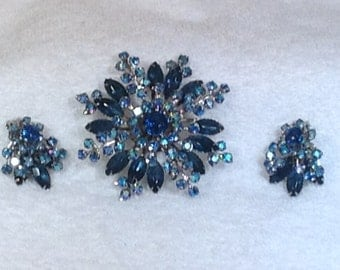 Vintage Blue Brooch and Earrings