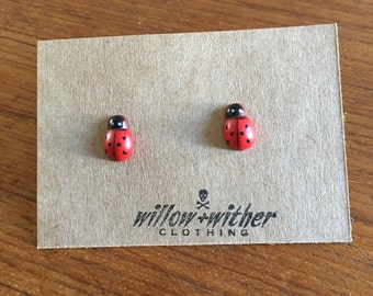 Wooden Ladybug earrings