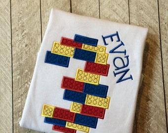 Building block inspired Birthday  applique shirt