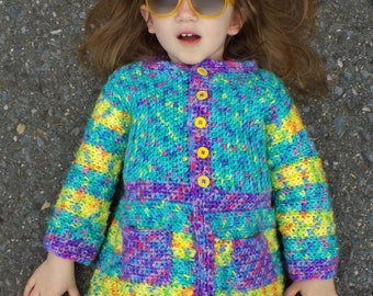 Goody Gumdrops Coatigan CHILD - PDF pattern ONLY - Winter, Fall, Snow, Cold, Sweater, Jacket, Coat, Cardigan, Child, Crochet