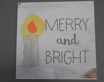 Merry and Bright Painted Wood Sign Christmas