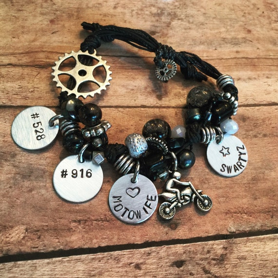MX Mom-Dirt-bike charm bracelet-- mx gear /mx gift/ mx girlfriend gift