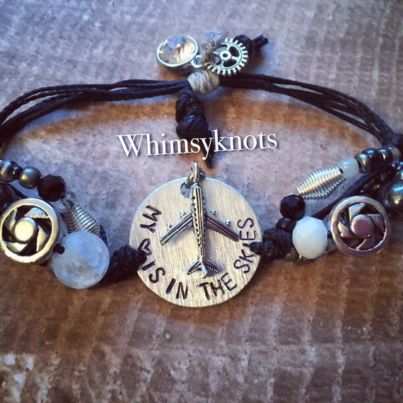 Flight Attentdant Bracelet-My heart is in the skies- Bracelet - great for layering/stacking or alone. Personalized, Hand-Stamped Jewelry