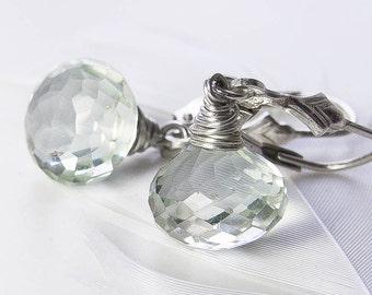 Green Amethyst Earrings, Petite Drop Earrings. Prasiolite Onion Earrings. Choice of Earwire. February Birthstone. Gift Under 30
