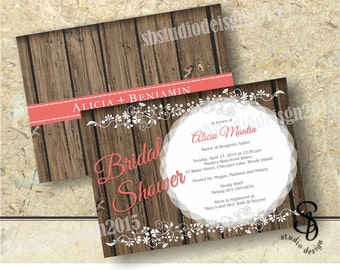 Rustic wood bridal shower invitation 2 sided