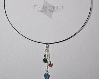 legend of zelda ocarina of time spiritual stone collar, zelda necklace, ocarina of time necklace, kokiri emerals, goron ruby, zora sapphire