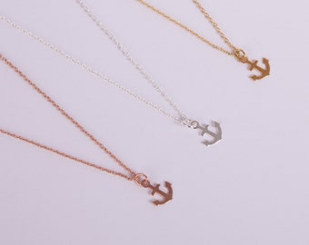 Silver Gold Or Rosegold Plated Necklace Anchor Silver Golden Or Rosegolden Filigree Necklace Anker Anchor Maritime