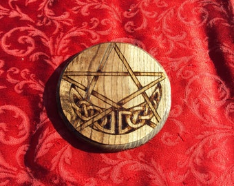 Wicca Enchanted - Altar Tile - Crystal Grid - Reversible - Ash Wood - High Quality