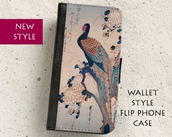 Phone case - Pheasant - Vintage Oriental Woodblock Illustration - Wallet flip case - iPhone 4,5,5C,6 Plus,SE & Samsung Galaxy S3,S4,S5,S6,S7