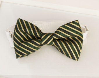 Christmas bow tie - Gold and green stripes bow-tie - Adjustable neck-strap