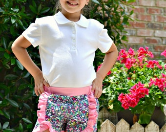 Flower ruffle shorts