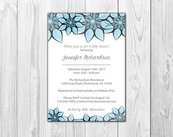 Blue Flowers Baby Shower Invitations  |  DIGITAL FILE