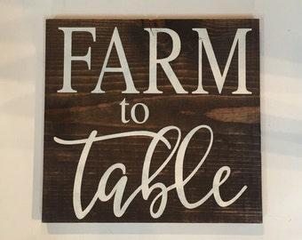 farm to table  farmhouse decor wood sign - kitchen  - farmer's market - rustic chic wall art