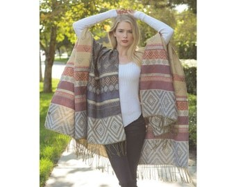 Bohemian Oversized Blanket Scarf with Fringe, Aztec Blanket Scarf, Gift For Her, Womens Scarves, Winter Scarf, Scarf Wrap, Large Shawl