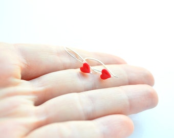 Valentine's Day sterling silver and polymer clay hook earrings