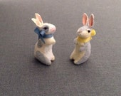 Dollhouse Miniature Velveteen Rabbit Toy Plush- gray or white