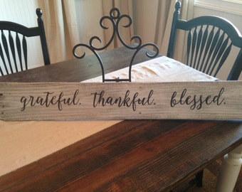 Grateful Thankful Blessed Sign Rustic Distressed Wood