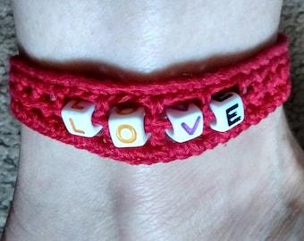 CROCHET PATTERN: Spell it Out! Beaded & Crocheted Ankle Bracelet