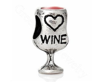Wine Glass, European Charm Bead For All Large Hole Charm Bracelet And Necklace Chain. 10x18mm