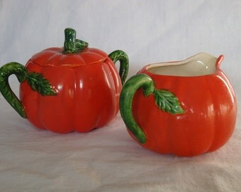 Vintage Maruhon Ware Tomato Shaped Creamer and Sugar Bowl