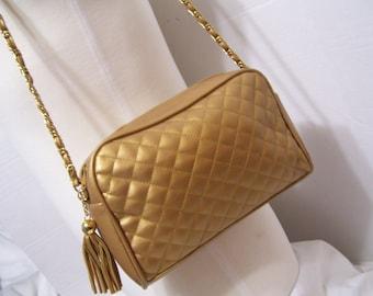 Handbag Purse Pocketbook Matte Gold Tassel Fob Chanel Copied Design Chain Strap with Matte Lacing