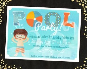 Pool Birthday Party Invitation Boy Pool Birthday Party Invitations Swimming Birthday Invitation Swimming Pool Party Birthday Invites Qty. 25