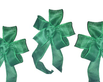 Green burlap jute bow wedding pew bows, tables chair decor, candy buffet,  package topper Set of Three