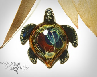Glass Pendant - Rainbow Galaxy Turtle Pendant - Glass Art - Blown Glass Art - Handmade - Unique Jewelry - Boro Pendant - Universe Filament