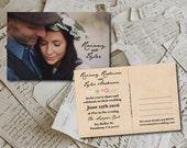 "Wedding Invitation PostCards - RusticFloral Vintage Rustic Photo Personalized 4""x6"""