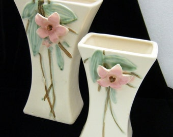 McCoy Pottery Pair Vases Blossomtime Blossom Time Lovely Vintage