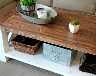 Rustic Coffee Table- Two Toned, Sealed walnut top, distressed bottom legs