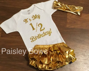 Gold and white 1/2 birthday outfit