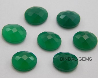 15 Pieces Wholesale Lot Green Onyx Oval Shape Checker Cut Gemstone for Jewelry