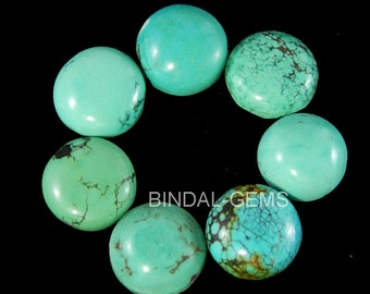 25 Pieces Wholesale Lot Natural Turquoise Round Shape Gemstone Flatback Cabochon