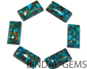5 Pieces Blue Copper Turquoise Baguette Shape Loose Smooth Polished Gemstone