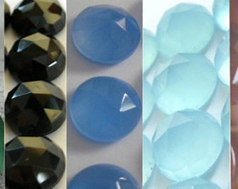 Mix Lot Of 10 Pcs Green Onyx, Black Onyx, Aqua, Blue, Pink Chalcedony 9x9 mm Round Rose Cut Gemstone