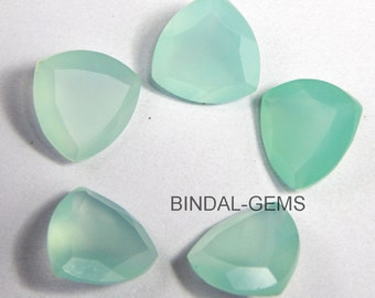 10 Piece Lot Aqua Chalcedony Trillion Shape Faceted Cut Loose Gemstone