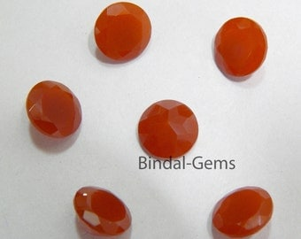 Wholesale Lot 15 Pieces Red Onyx Round Shape Faceted Cut Gemstone For Jewelry