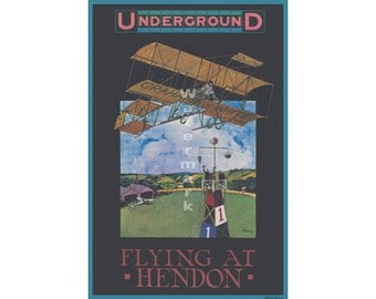 Flying at Hendon - Vintage London Underground Poster