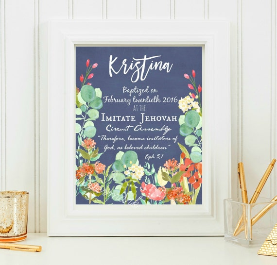 Wedding Witness Gifts: JW Baptism Print-Custom Printable Download Jw Baptism Gift