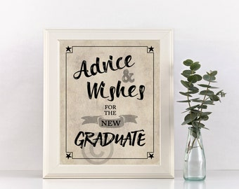 Advice and Wishes for the Graduate Print, Instant Digital Download, Graduation Sign, 2017, Party Decoration, 8 x 10 Printable Image