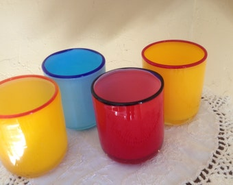 Set of  (4)  Blown glass tumblers -on-the-rocks glasses with Cobalt Blue Rims- Bright Primary Colors